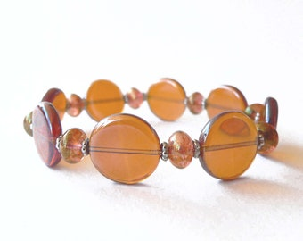 Topaz bracelet handmade with topaz glass beads and metal elements. ooak made in Italy