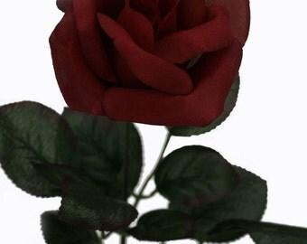 Burgundy Rose Stem - Silk Rose Burgundy - Wedding Flowers