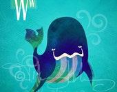 "W is for Whale - Nursery Animal Alphabet Art by Oddly Olive, Tiffany Holesovsky - 8"" x 10""  Epson Paper Giclée Print"
