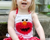 Elmo Inspired Skirt Set: Red an White Polka Dot