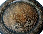 Vintage copper wall decor handmade floral etching wall hanging plate, mini serving tray - 1970s TURKISH FOLK ART hand etched enamel