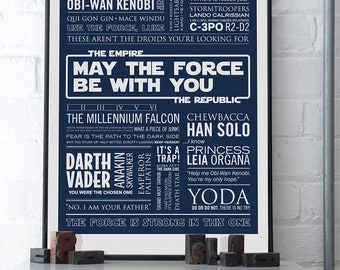 THE FORCE - Star Wars Typographic Print in Deep Space Blue. Available in A2 or A3.
