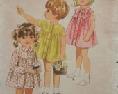 Vintage 1960's Simplicity 4050 Pattern for Girl's One-Piece Dress in Size 2