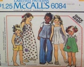 """Vintage 1978 McCall's 6084 """"Carefree Patterns"""" for Children's Dress or Jumper or Top and Pants or Shorts with Applique Pattern in Size 4"""