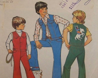 Vintage 1975 UNCUT Simplicity 7023 Pattern for Boys' Vest and Jeans Contains Two Sizes 7 and 8