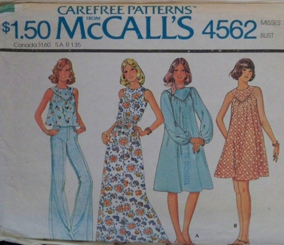 """Vintage 1975 McCall's 4562 """"Carefree"""" Pattern for Misses' Dress or Top in Size 10"""