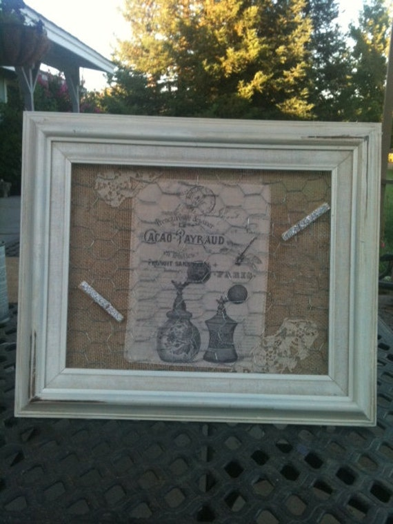 Burlap memo Board with french graphics