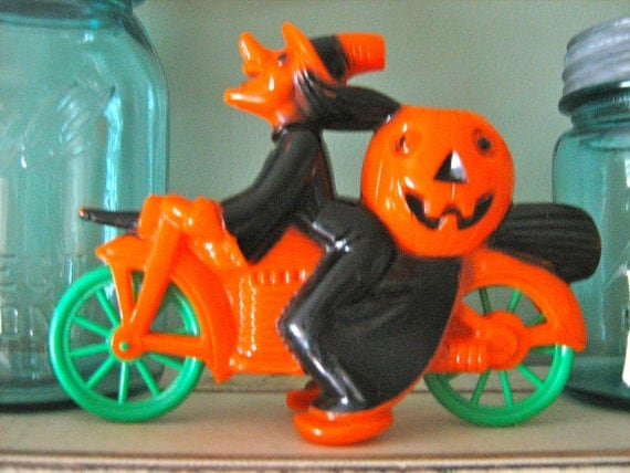 Vintage Halloween Witch on Motorcycle Orange and Black Pumpkin Jack O Lantern Candy Container Rosbro 1950s