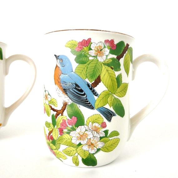 vintage bird mugs, japanese, retro kitchen, mid century mug, coffee cups, mug set, kitschy, nature, japan, kitchenware, ceramics