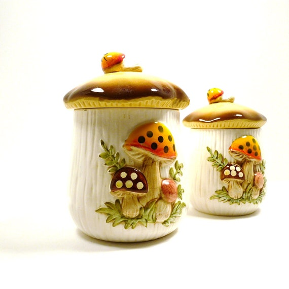 vintage mushroom canisters fall retro canister set