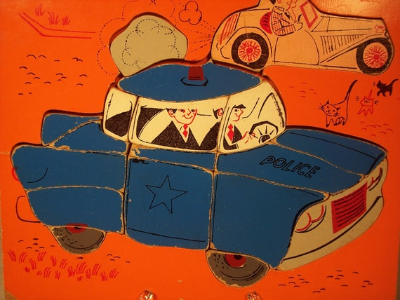 Rare Wood Wooden Playskool Police Car Puzzle, 1950s, 18 Piece