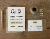 DIY Printable Wedding Invitation Perfectly Preppy - 4 pieces