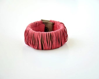 Handmade Cut Sugar Pink Chamois Leather on Mink Chamois Cuff Bracelet with snap. Leather Jewelry