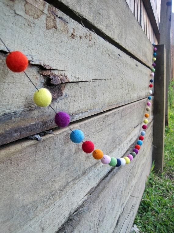 Felted Ball Garland - 50 felt balls, 3 metres