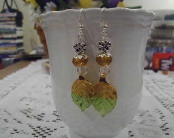 Green Glass Leaf Earrings