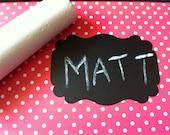 SALE 10 Adhesive Chalkboard Labels - Flourish Rectangle Chalk Stickers