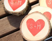 100 Custom Heart Initials Save The Date/Wedding Favor Wood Magnets
