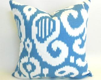 Pillow Covers ANY SIZE Decorative Pillow Cover Aqua Pillow Ikat Pillow Suburban Fergana Ikat Aqua