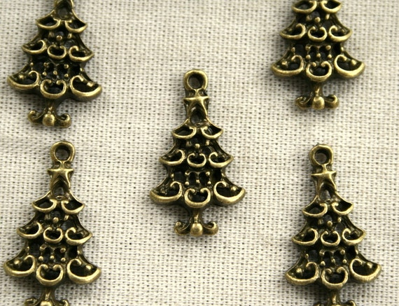 8 Bronze Christmas Tree Charms/Pendants