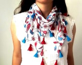100% Cotton White Triangle Scarf With Traditional Ottoman Tulip And Dianthus Figure