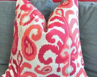 Fuchisa Ikat Pillow Cover, Decorative Pillow Cover, Throw Pillow Cover, Pink Ikat, Home Decor, Home Furni