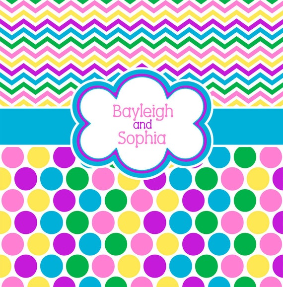 Chevron And Polka Dot Multi Color Bright Personalized Shower