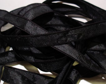 Black Crinkle Essence 1/2in. x 42 in.  ribbon//Crinkle essence wrist wrap bracelet ribbons// by Color Kissed Silk LLC.
