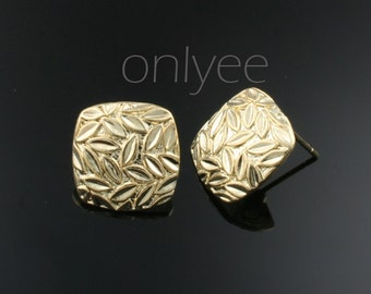 2pair/4pcs-15mmX15mm 14K Gold plated Brass Square Leave Earrings Connectors(K262G)