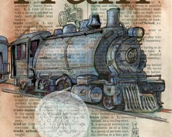 PRINT:  Vintage Train Mixed Media Drawing on Distressed, Dictionary Page