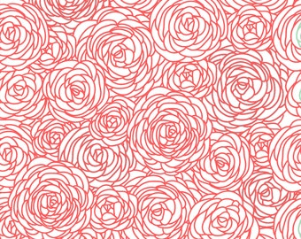 Blossom Fabric by the Yard - Coral and White