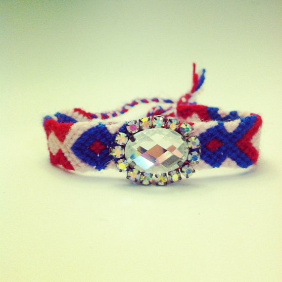 Friendship Bracelet with statement rhinestone in pink blue red and white colors