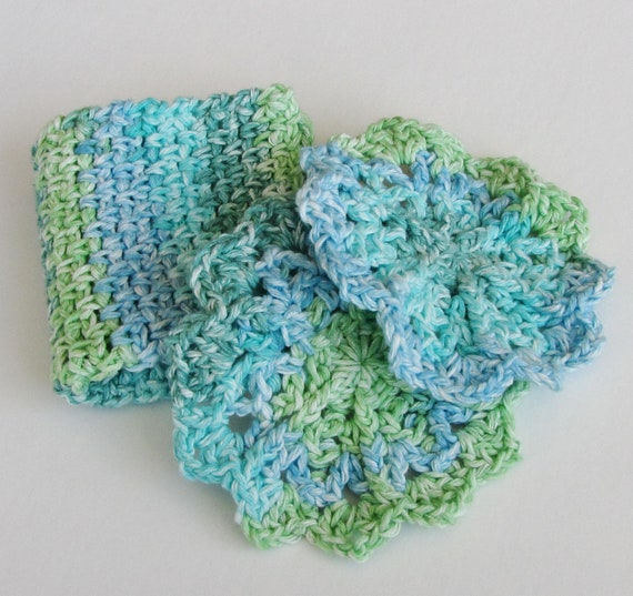 Cool Colors Wash/Dish Cloth Set - Green, Teal, and Blue