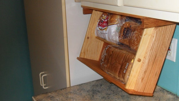 Items Similar To Under Cabinet Mounted Bread Box, Drawer Drops Down For Easy Access