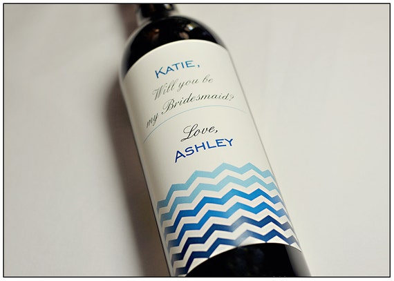 Will You be my Bridesmaid - Custom Bridesmaid Wine Labels - Personalized Labels