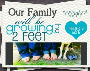Pregnancy Announcement Photo Card. Our family will be growing by 2 feet.  New Baby Announcement.  Custom Colors.