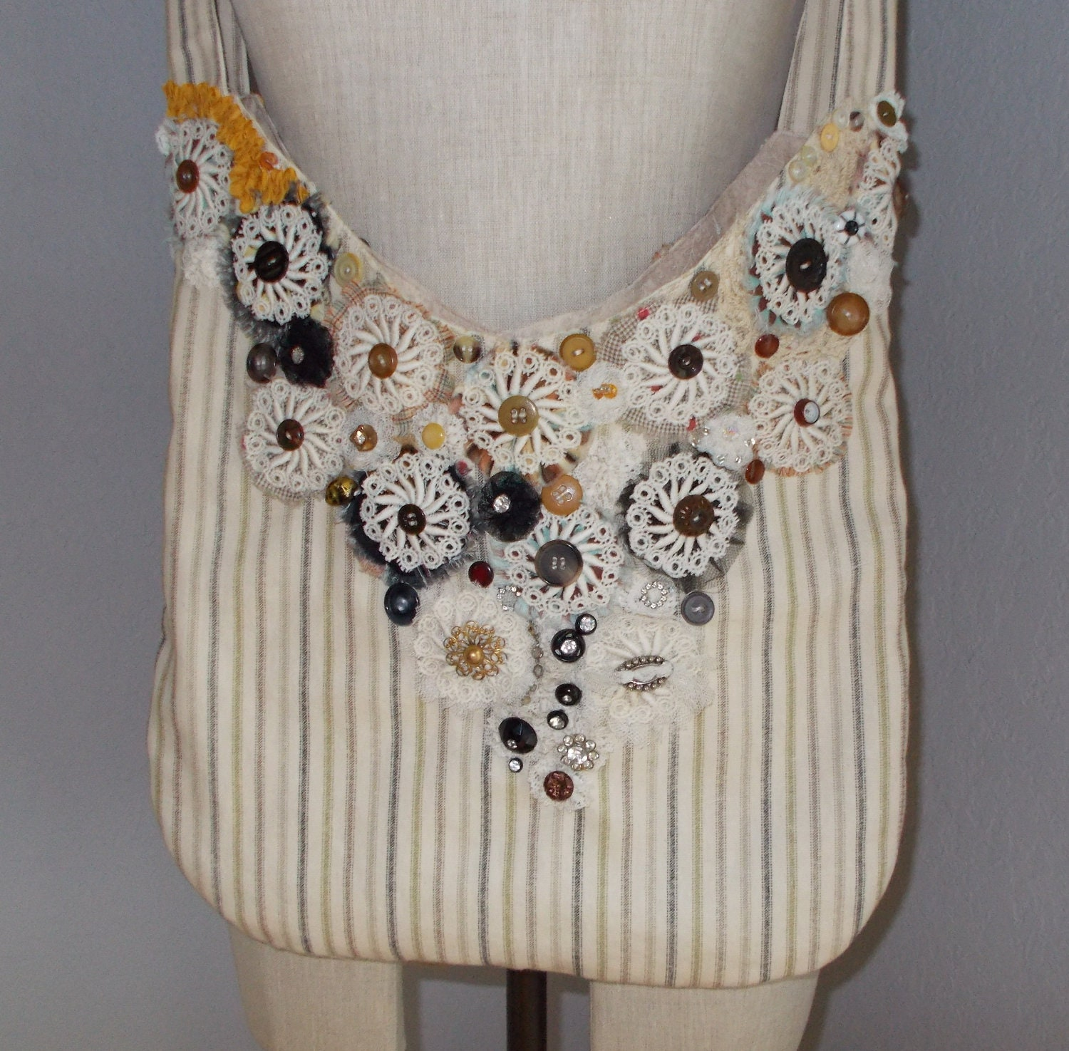 Ticking Shoulder Hobo Bag Crochet Doilies Lace by MirtaBurns
