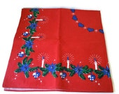 VintageTablecloth Holiday Design 34 x 35 inches