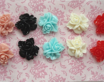 16mm Resin Flower Cabochons Pack of 10 Resin Flatback Embellishments