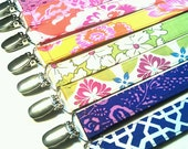 BFF Modern Boho Purple Flower Floral Pacifier Clip Designer Fabric