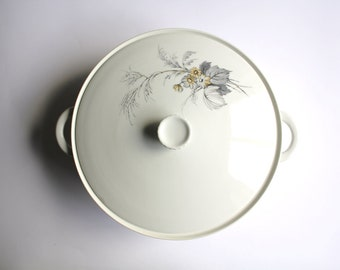 SALE 50 OFF Vintage White Tureen with Grey and Light Brown Flower Pattern Portugal Ceramic