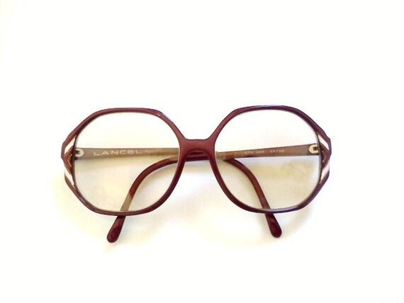 Vintage Eyeglasses French Big Sized Burgundy Lancel Paris