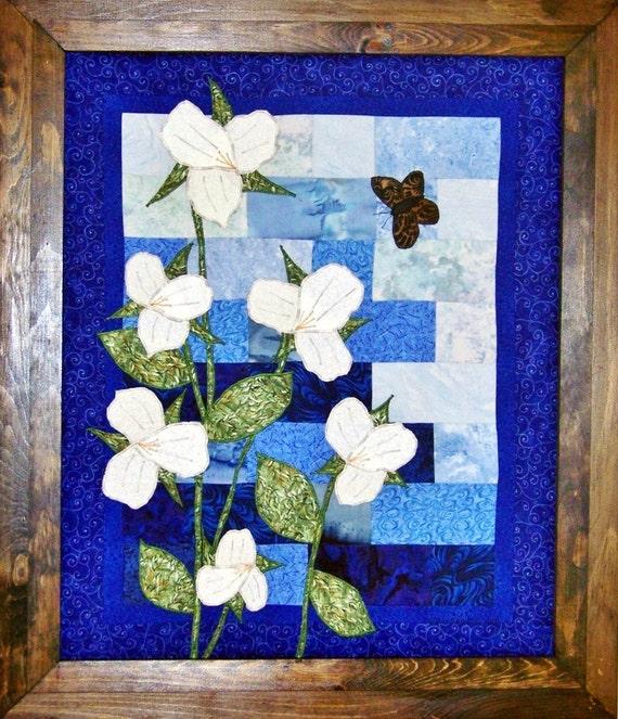 Line Art Quilt Kit : Trillium blues art quilt pattern kit from debbiebohringer