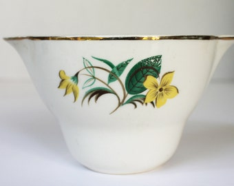 Yellow Flower Sugar Bowl with 23k Gold Trim - Starlight Dinnerware, USA