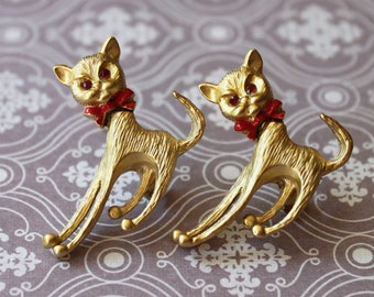 Pair of Cute Vintage Cat Pins w/ Moveable Heads