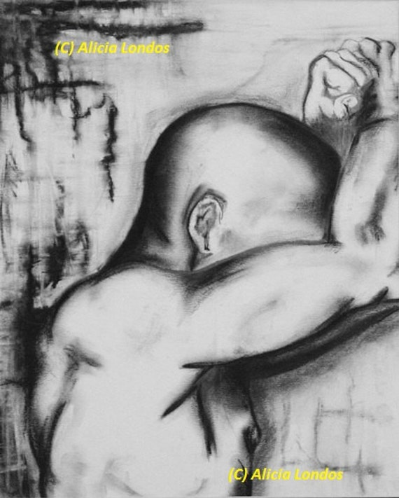 Drawing - Man leaning on wall
