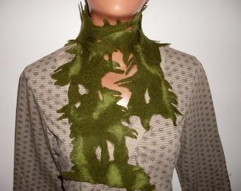Felted Scarf Shawl Women Ladies Green Wool  Handmade