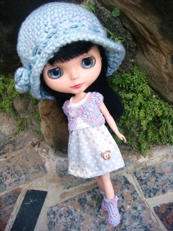 Christmas SALE Blythe blue dots outfit set