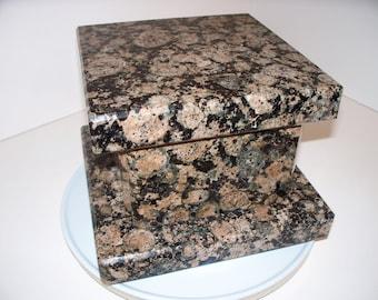 Stone Natural Granite Wedding Box Cremation Urn Keepsake Box Handmade