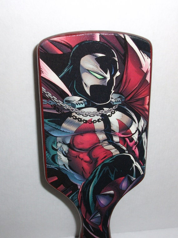 Spawn-Masked-Large Pin Cushion Paddle Hair Brush-FanArt- Hand Painted and Papered