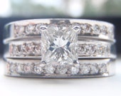 SALE 1.02 Carats Diamond Engagement,Wedding & Eternity Ring Set. Brilliant Cut Diamonds. Solid 18K White Gold.